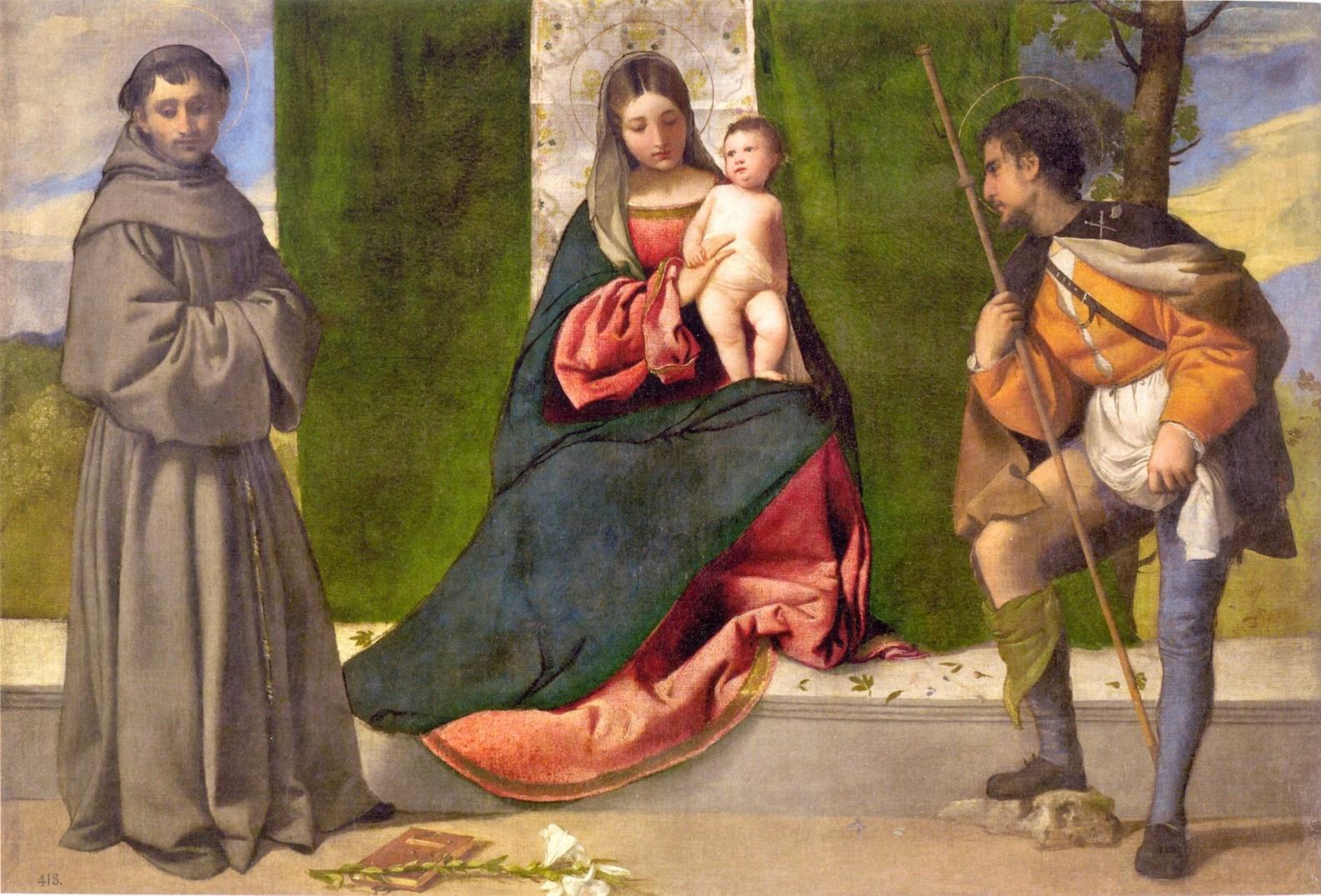 Madonna col Bambino tra Sant'Antonio da Padova e San Rocco, Madrid, Museo del Prado, Tiziano Vecellio, Tiziano, Mostra, Brescia, Santa Giulia, Museo di Santa Giulia,