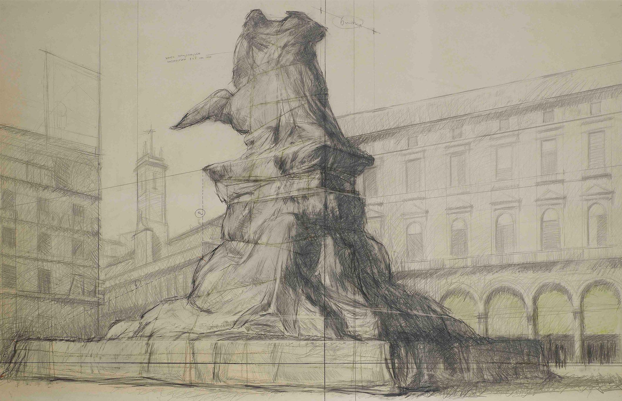 Christo Wrapped monument Vittorio Emanuele II milano, Gallerie d'Italia, Piazza Scala, Collezione Luigi e Peppino Agrati, Intesa Sanpaolo, Collezione Agrati, Milano
