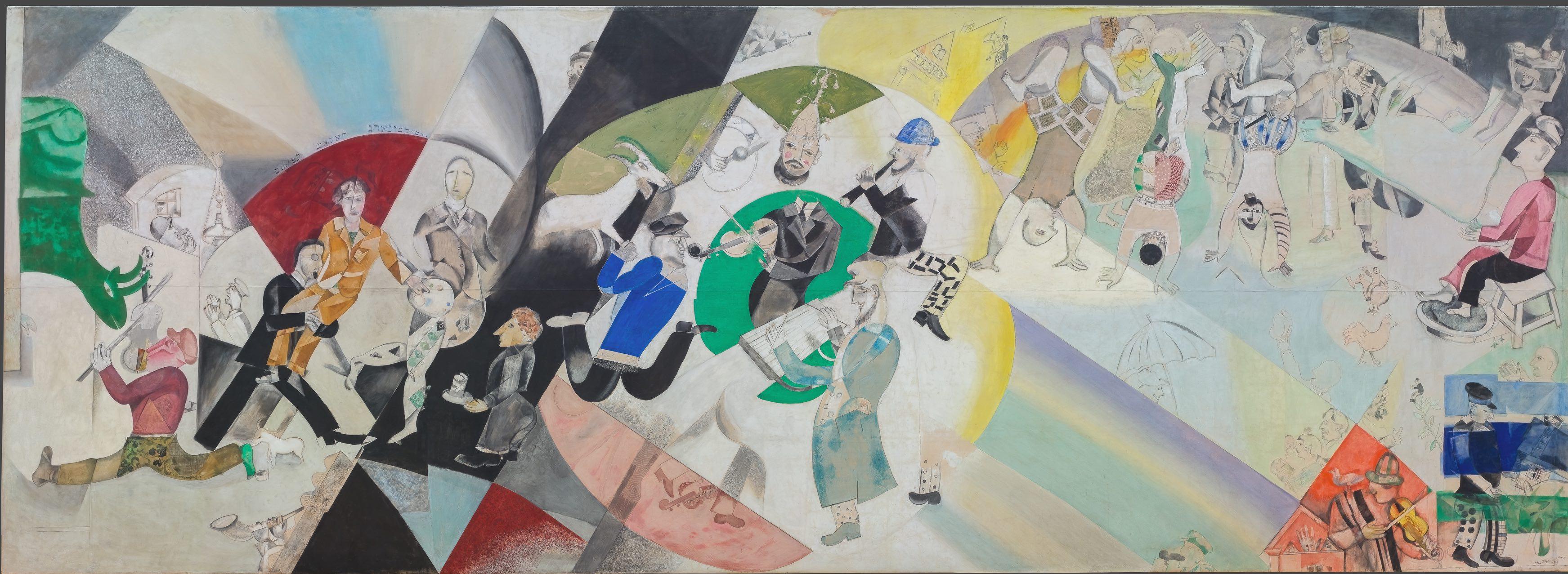 Marc Chagall Introduzione al teatro ebraico, 1920, Galleria di Stato Tretjakov di Mosca © The State Tretyakov Gallery, Moscow, Russia © Chagall ®, by SIAE 2018, ChagallMantova, Palazzo della Ragione, Chagall, ChagallMantova
